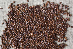Burlap texture with coffee beans border Royalty Free Stock Images