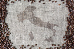 Burlap texture with coffee beans border Stock Photography