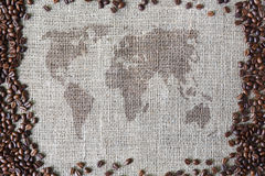 Burlap texture with coffee beans border and world map Stock Photos