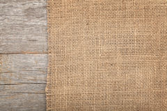 Burlap Texture On Wooden Table Stock Images