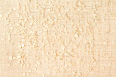 Burlap texture with scattered cereal grains Royalty Free Stock Image