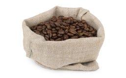 Burlap torba kawowych fasoli piec kawa Zdjęcie Stock