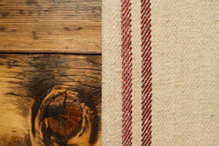 Burlap and vintage wood background Royalty Free Stock Images