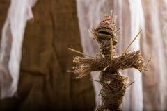 Burlap voodoo doll Stock Images