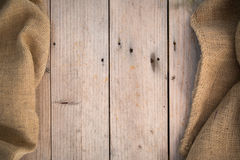 Burlap Wood Background Stock Image