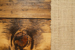 Burlap and wood background Royalty Free Stock Images