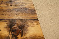 Burlap and wood Stock Photography