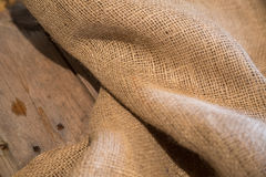 Burlap and Wood Royalty Free Stock Photography