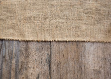Burlap and wooden texture background Stock Photo