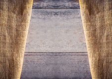Burlap and wooden texture background Royalty Free Stock Photos