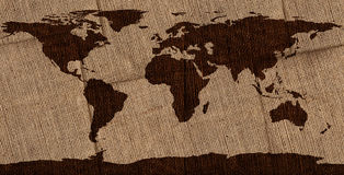 Burlap World Map Stock Images