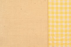 Burlap with Yellow and White Plaid Fabric Background with space or room for copy, text, words, horizontal or vertical Royalty Free Stock Images