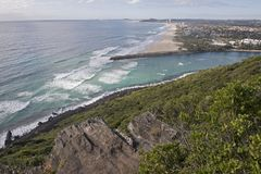 The Burleigh river empties into the pacific ocean. On Queensland`s Gold Coast, Australia royalty free stock image