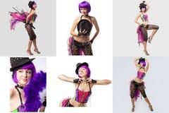 burlesk Collage van showgirl met purper haar Stock Fotografie