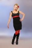 Burlesk meisje in zwart & rood Stock Afbeelding
