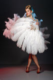 Burlesque artist with ostrich feather fan Royalty Free Stock Image