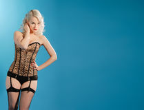 Burlesque beautiful blonde girl Royalty Free Stock Images