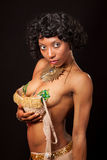 Burlesque dancer dropping her bra Stock Photo