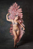 Burlesque dancer with feather fans Royalty Free Stock Images