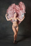 Burlesque dancer with feather fans Royalty Free Stock Photos
