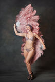 Burlesque dancer with feather fans Royalty Free Stock Photo