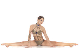 Burlesque dancer in golden dress Stock Image