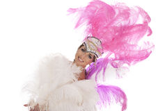 Burlesque dancer in white dress with pink plumage Stock Images