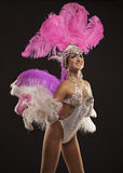 Burlesque dancer in white dress with pink plumage Royalty Free Stock Photography