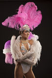 Burlesque dancer in white dress with pink plumage Royalty Free Stock Image