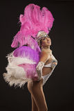 Burlesque dancer in white dress with pink plumage Stock Photo