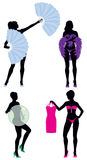 Burlesque Women Silhouettes. Including feather fans, feather boa, bubble dancers and stripper holding dress Stock Photo