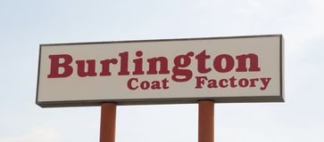 Burlington-Mantel-Fabrik-Zeichen Lizenzfreies Stockbild