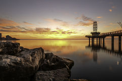 Burlington Pier Sunrise Royalty-vrije Stock Afbeeldingen