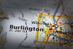 Burlington, Vermont on map. Closeup of Burlington, Vermont on a road map of the United States royalty free stock photo