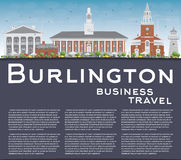 Burlington (Vermont) Skyline with Color Buildings and Copy Space Royalty Free Stock Photography