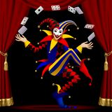 Burlone con le carte da gioco coltivate dalla tenda rossa illustrazione di stock