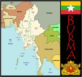 Burma Administrative divisions. Burma map flag and coat Stock Images