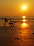 Burma Bicycle Hazy Sunset. Burma (Myanmar) Bicycle Sunset at Ngpali Beach stock image