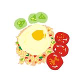 Burma breakfast. Illustration Burma breakfast fried rice with fried egg and vegetables isolated on white background Royalty Free Stock Photography