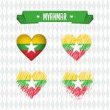 burma Collection de quatre coeurs de vecteur avec le drapeau Silhouette de coeur illustration stock