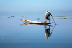 Burma fisherman. Fishing on Inle Lake Stock Photography