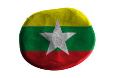 Burma flag,flag clay on white background.  Stock Photos
