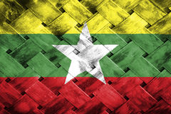 Burma flag, flag on the wood.  Stock Photos