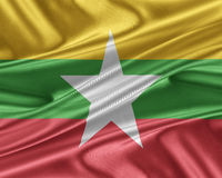 Burma  flag with a glossy silk texture. Burma flag. Flag with a beautiful glossy silk texture Stock Images