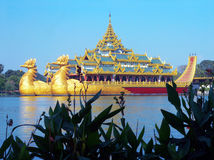 Burma. Karaweik Palace. Burma (Myanmar) Karaweik Palace, Yangon, is a Royal Barge REPLICA sitting on a solid cement base, on Indagawyi Lake side i. e. it does stock images