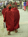 Burma Kyaukme Monks. Burma (Myanmar) Kyaukme Monks Alms Collecting (breakfast / donations royalty free stock photography