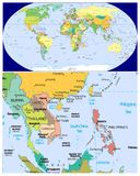Burma Laos Thailand & World. World map and Close up of Burma Laos Thailand Royalty Free Stock Photo