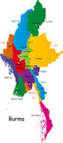 Burma map. Designed in illustration with the provinces and  the main cities. (Map is hight resolution Royalty Free Stock Photos