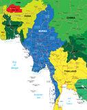 Burma Map. Highly detailed vector map of Burma with administrative regions, main cities and roads Royalty Free Stock Image