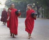 burma monksmyanmar barn Arkivfoton